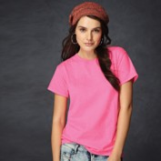 A young lady poses in a plain, womens-style, fluorescent or neon pink T-shirt.