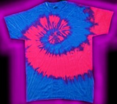 fee3ba8cb3cf26 two-color - neon blue and neon pink - tie-dye T-shirt